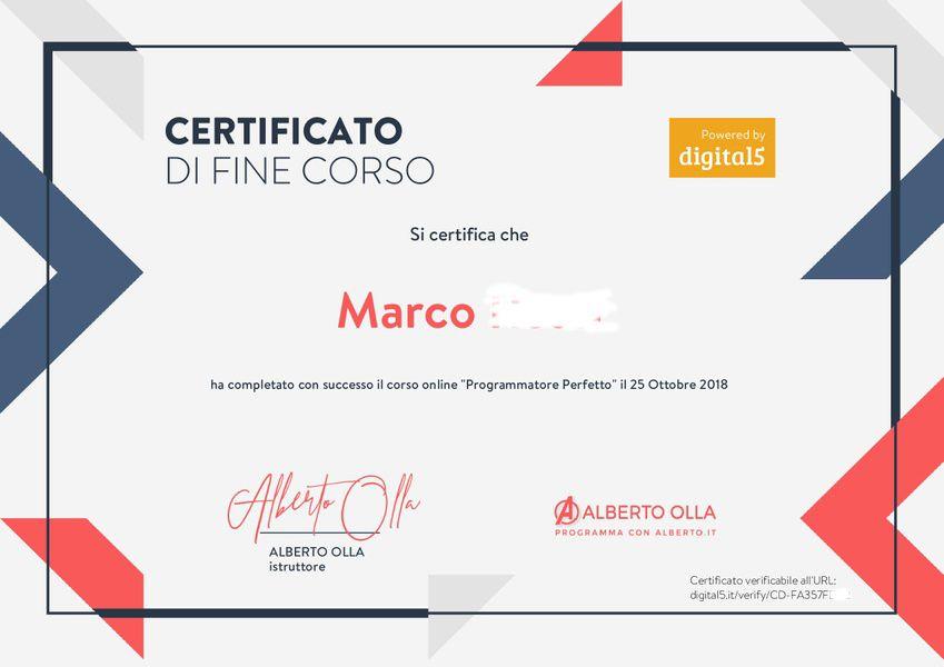 Certificato del Corso di Informatica