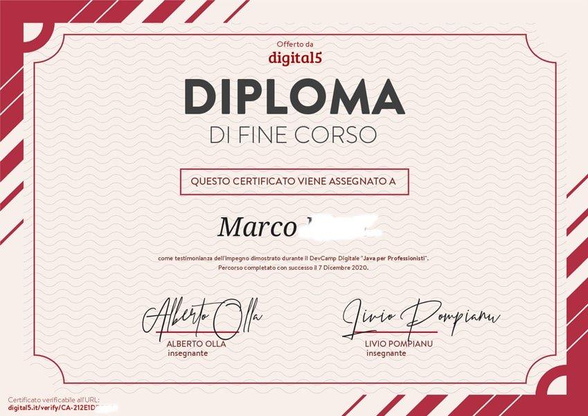 Certificato / Attestato/ Diploma di fine corso