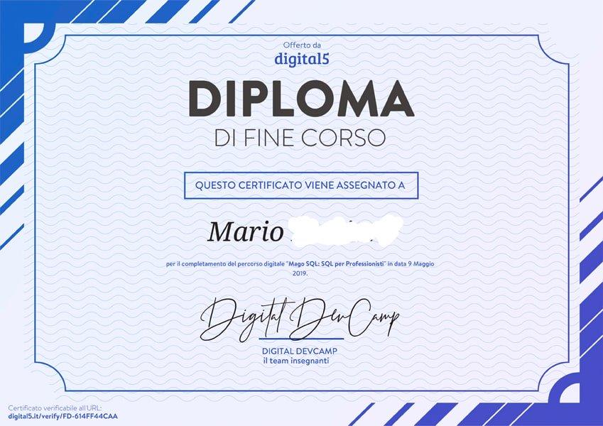 Certificato / Attestato/ Diploma di fine corso SQL